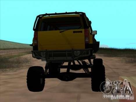 Hummer H3 Trial para GTA San Andreas traseira esquerda vista