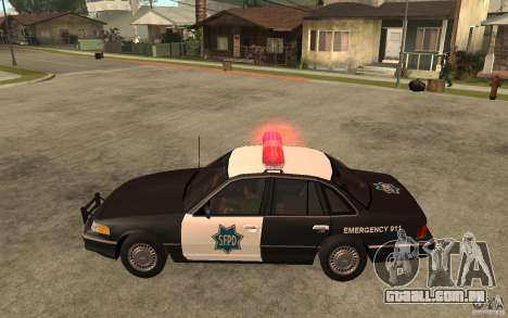 Ford Crown Victoria SFPD 1992 para GTA San Andreas esquerda vista