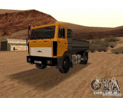 5551 MAZ caminhão para GTA San Andreas vista interior