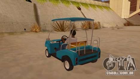 Golf kart para GTA San Andreas traseira esquerda vista