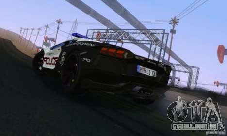 Lamborghini Aventador LP700-4 Police para GTA San Andreas traseira esquerda vista