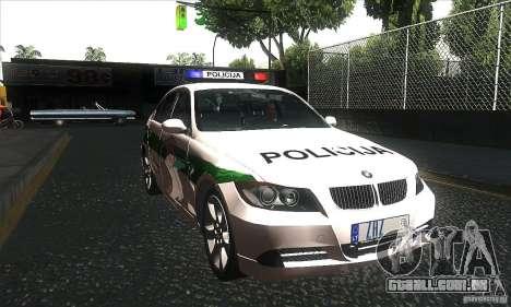 BMW 330 E90 Policija para GTA San Andreas vista traseira