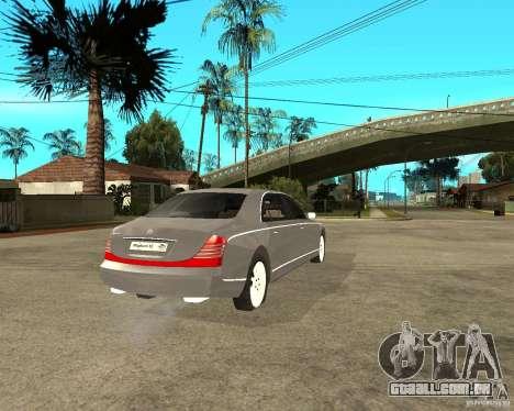 Maybach 62 para GTA San Andreas traseira esquerda vista