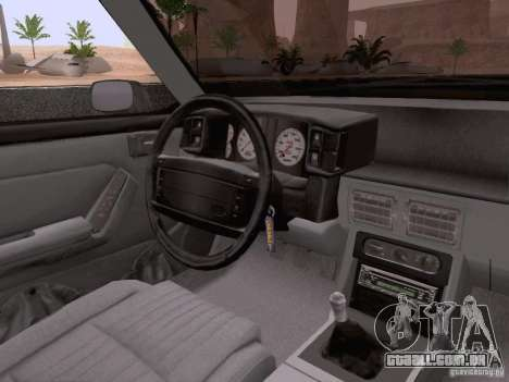 Ford Mustang GT 5.0 Convertible 1987 para GTA San Andreas vista inferior