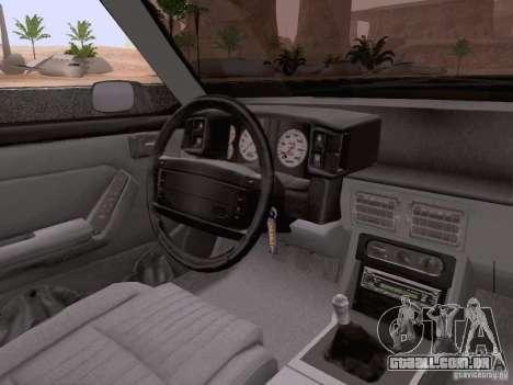 Ford Mustang GT 5.0 Convertible 1987 para GTA San Andreas vista inferior