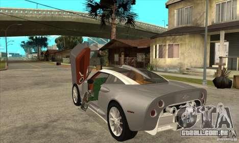 Spyker C8 Aileron para GTA San Andreas traseira esquerda vista