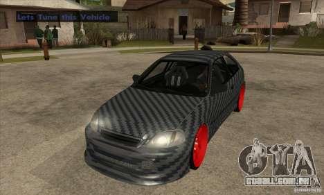 Honda Civic Carbon Latvian Skin para GTA San Andreas