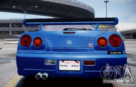 Nissan Skyline GT-R R34 Mspec para GTA 4 traseira esquerda vista