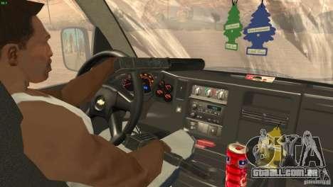 Chevrolet Savana 3500 Cargo Van para GTA San Andreas vista interior