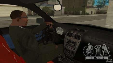 Subaru Impreza 2005 Mission Edition para GTA San Andreas vista interior