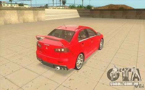 Mitsubishi Lancer Evolution X MR1 para GTA San Andreas traseira esquerda vista