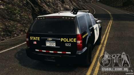 Chevrolet Tahoe Marked Unit [ELS] para GTA 4 traseira esquerda vista