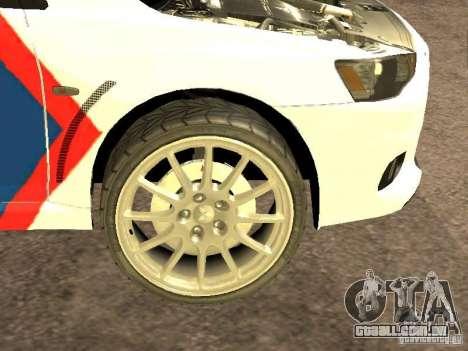 Mitsubishi Lancer X Police Indonesia para GTA San Andreas vista interior
