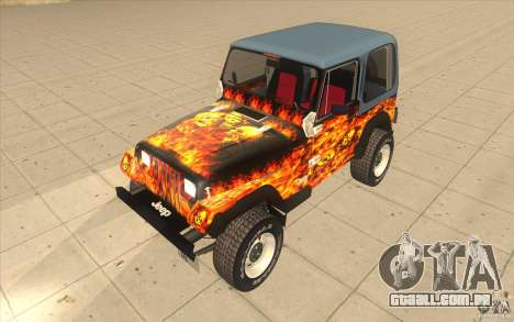Jeep Wrangler 4.0 Fury 1986 para GTA San Andreas vista interior