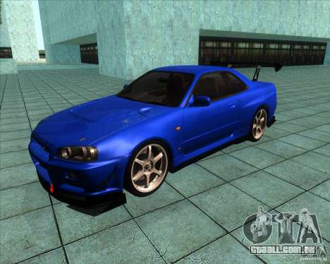 Nissan Skyline R-34 GT-R M-spec Nur para GTA San Andreas esquerda vista