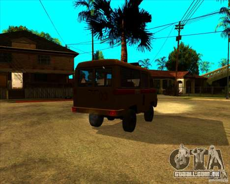 UAZ 3962 Medical para GTA San Andreas traseira esquerda vista