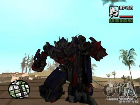 Optimus Prime para GTA San Andreas segunda tela