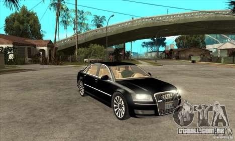 Audi A8 de transportadora 3 para GTA San Andreas vista traseira