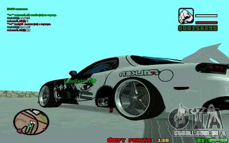 Mazda RX7 Drift para GTA San Andreas traseira esquerda vista