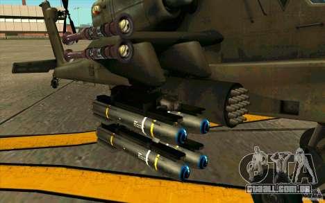 Apache AH64D Longbow para GTA San Andreas vista traseira