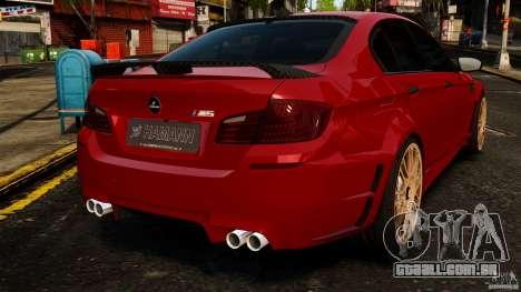 BMW M5 F10 2012 Hamann para GTA 4 traseira esquerda vista