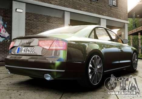 Audi A8 (D4, Typ 4H) 2010 Alpha para GTA 4 esquerda vista