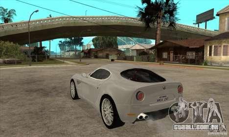 Alfa Romeo 8 c Competizione estoque para GTA San Andreas vista direita