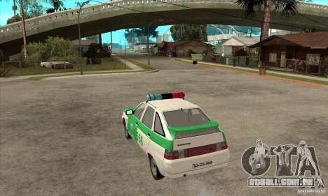 Polícia YPX VAZ-2112 para GTA San Andreas traseira esquerda vista