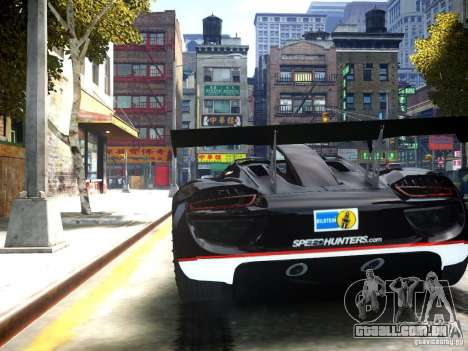 Porsche 918 Spider Body Kit Final para GTA 4 traseira esquerda vista