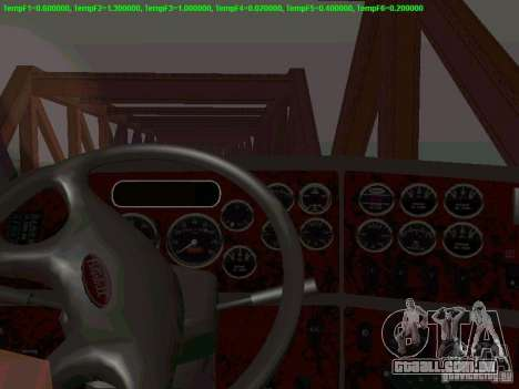 Peterbilt 387 para GTA San Andreas vista interior
