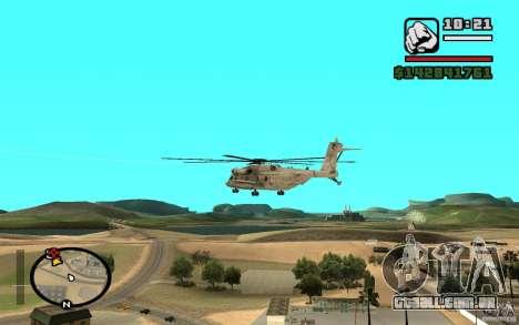 Sikorsky MH-53 com escotilha fechada para GTA San Andreas traseira esquerda vista