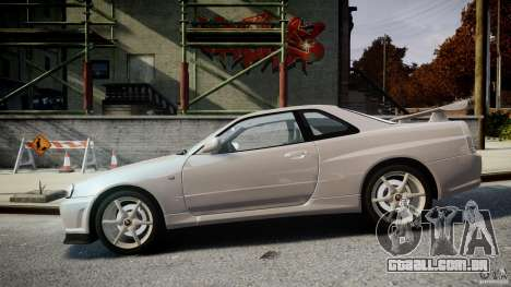Nissan Skyline GT-R R34 2002 v1 para GTA 4 esquerda vista