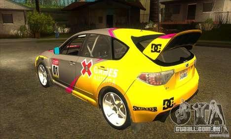 Subaru Impreza WRX STi X jogos América de DIRT 2 para GTA San Andreas traseira esquerda vista