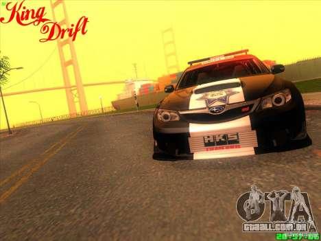Subaru Impreza WRX Police para GTA San Andreas vista traseira