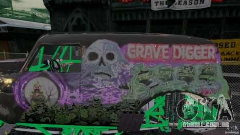 Grave digger para GTA 4 esquerda vista
