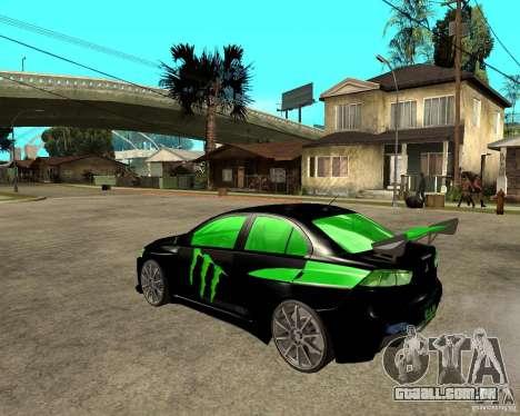 Mitsubishi Lancer Evolution X E&R Prod para GTA San Andreas esquerda vista