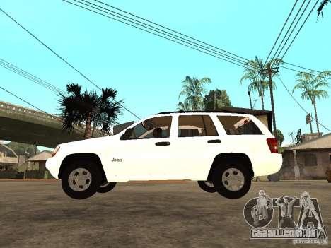 Jeep Grand Cherokee 99 para GTA San Andreas esquerda vista