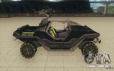 Halo Warthog para GTA San Andreas vista traseira
