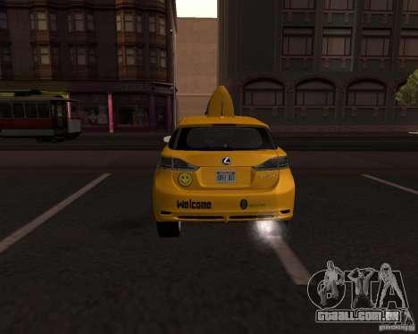 Lexus CT 200h 2011 Taxi para GTA San Andreas traseira esquerda vista