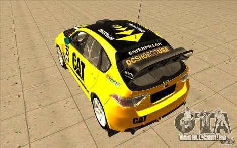 Subaru Impreza WRX STi com novo vinil original para GTA San Andreas vista interior