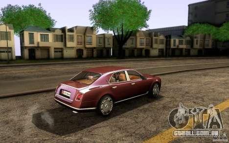 Bentley Mulsanne 2010 v1.0 para GTA San Andreas vista traseira