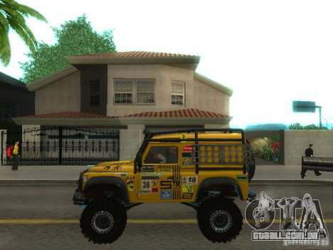 Land Rover Defender Off-Road para GTA San Andreas esquerda vista