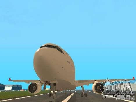 Airbus A330-300 Turkish Airlines para GTA San Andreas vista traseira