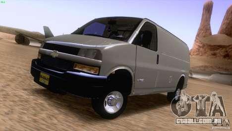 Chevrolet Savana 3500 Cargo Van para GTA San Andreas esquerda vista