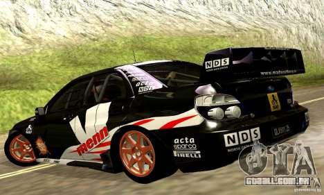 Subaru Impreza WRC 2007 para vista lateral GTA San Andreas