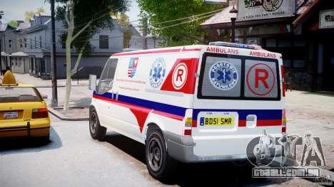 Ford Transit Polish Ambulance [ELS] para GTA 4 traseira esquerda vista