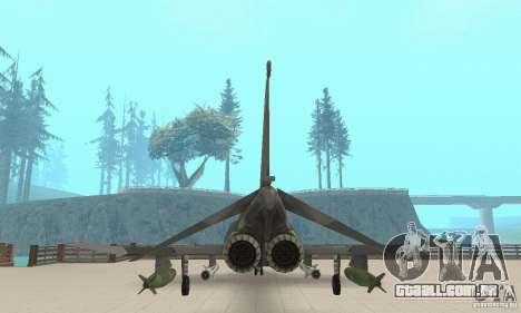 F-4E Phantom II para GTA San Andreas vista traseira
