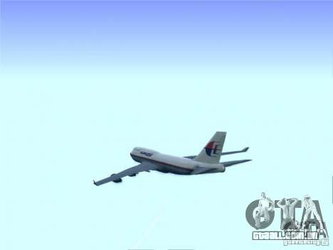 Boeing 747-400 Malaysia Airlines para GTA San Andreas vista interior