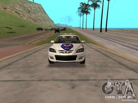 Mazda 3 Police para GTA San Andreas vista traseira