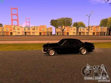 Nissan Skyline 2000GTR para GTA San Andreas traseira esquerda vista